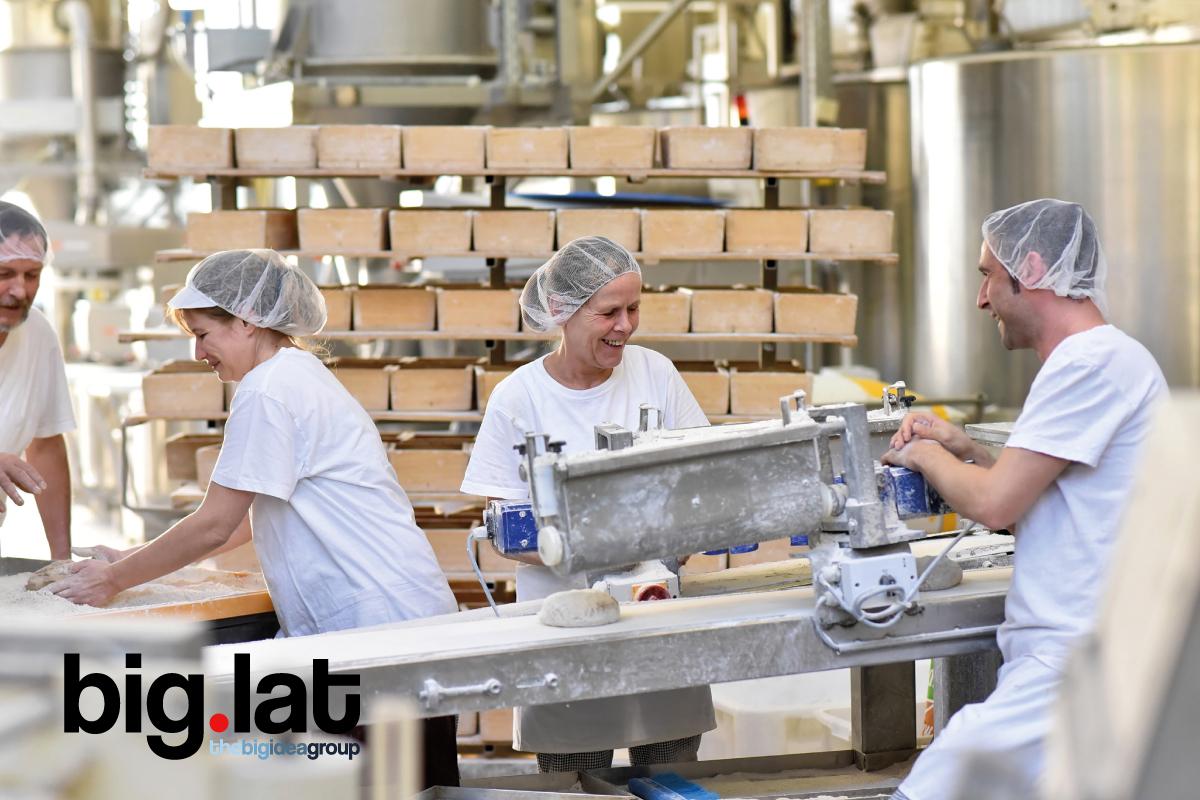 Empleados motivados trabajando en una fábrica de pan